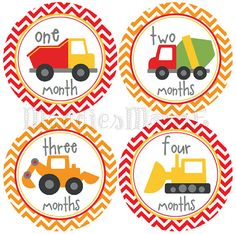 Baby Boy Month Stickers, Monthly Baby Stickers, Milestone Stickers, Baby Month Stickers, Monthly Bodysuit Sticker Trucks (Construction) on Etsy, $8.99