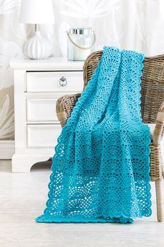 Trade Winds Throw designed by Margret Willson in Red Heart Super Saver in the June 2016 issue of Crochet World