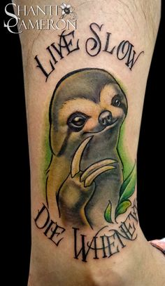 This is one of my favorite tattoos that I've done so far.  I would love to do more along these line.  Who could resist a face like that?  Sloth life forever!  Shanti @ Cat Tattoo in Addison, Texas (DFW area)