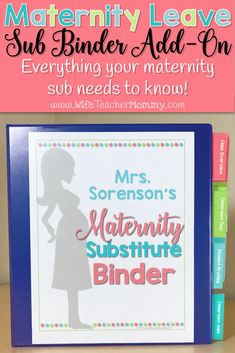 Need a binder specific for your maternity leave? Check out the maternity leave substitute binder add-on for teachers! Take all of the stress out of maternity leave planning and make sure you don't forget anything! The binder includes information pages for you to fill in about your class as well as planning pages to help you every step of the way in planning out your leave. This also pairs perfectly with our original editable substitute binder for everyday absences #maternityleave #teachermom