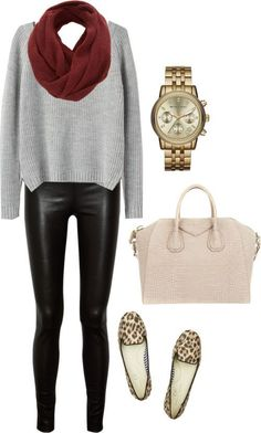 Leather leggings and loafers