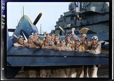 Fighting Squadron Sixteen Hellcat pilots on board the USS Lexington (CV celebrate after shooting down 17 of 20 Japanese planes heading for Tarawa in November of (Photo by Edward Steichen, November (Colorised by Lori Lang from the USA) Grumman F6f Hellcat, Veterans Services, Uss Lexington, Rear Admiral, National Cemetery, Story Of The World, Vintage Airplanes, Us Marines, Military Photos
