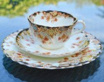 Flash Sale Antique Victorian Tea Trio - Blair & Co. Beaconsfield English China - Imari Floral Style Transfer Print - Cup, Saucer and Side Pl