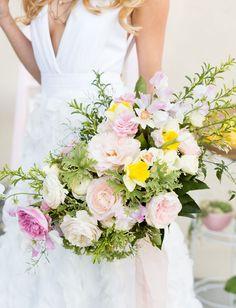soft pink bouquet with lemon yellow pops!   photo by @CavinElizabeth #bouquet by @blueladder #bridalgown by Alyssa Kristin bridal #weddinginspiration