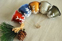 Snowflake Kissed Bell Ornaments by JenniferAllison on Etsy, $18.95