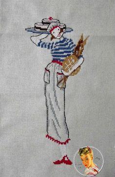 0 point de croix femme en pull rayé avec gateaux et pain - cross stitch woman, lady in striped sweater and cakes and bread