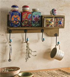 Fiesta Hanging Wood Spice Chest