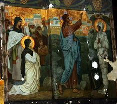 Raising of Lazarus mural icon at New Athos monastery