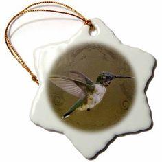 3dRose Angel Wings Hummingbird in Flight Art Image - Nature and Wildlife, Snowflake Ornament, Porcelain, 3-inch
