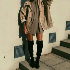 This stylish look is awesome. Its sexy baggy fit style and thigh high boots are a great combination