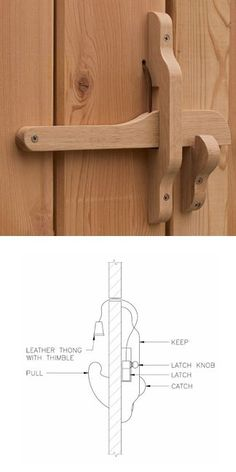 Wood door latch Source by charearea wood work,wood work projects,wood work for beginners,wood work d Woodworking Techniques, Woodworking Tips, Woodworking Joints, Woodworking Furniture, Outdoor Projects, Home Projects, Diy Holz, Wooden Doors, Wooden Hinges