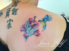 Watercolor hummingbird and flowers - October 2013 Tattooed by Javi Wolf