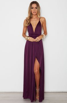 Sexy A-Line V Neck Spaghetti Straps Criss Cross Back Wine Chiffon Long Prom Dresses with Side Split,Formal Party Dresses Bridesmaid Dresses Info Cute Summer Dresses, Sexy Dresses, Dress Formal, Long Dresses, Long Evening Dresses, Purple Dress Outfits, Plum Bridesmaid Dresses, Chiffon Dresses, Evening Dresses