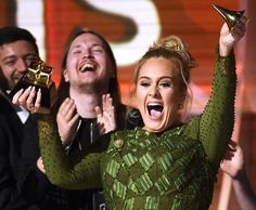"""queenbeyduh: Adele broke her Grammy in half to. - queenbeyduh: """"Adele broke her Grammy in half to give a piece to Beyoncé. A true stan! The BeyHive loves you , congrats ❤️ """" Spice Girls, Adele Awards, Beyonce, Only Clothing, Isnt She Lovely, Cool Lyrics, Album Of The Year, Betty White, Old Singers"""