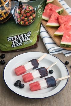 Cool off this summer with one of these layered Red, White and Blue Pops made with Stevia In The Raw®. These festive popsicles encompass some of the best flavors of the season like fresh blueberries, sweet watermelon and tropical coconut. So grab your star-shaped ice-pop molds and whip up a batch of these for refreshingly patriotic Memorial Day or Fourth of July frozen treat!