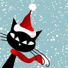サンタ猫。 クリスマス カード。 ストックフォト