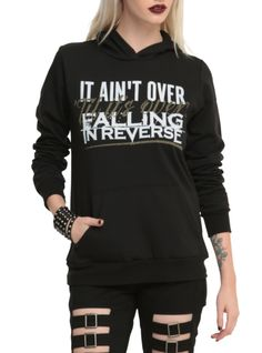 "Pullover hoodie with a Falling In Reverse ""It Ain't Over 'Til It's Over"" design."