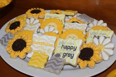 You Are My Sunshine baby shower cookies by The Sweet Elements