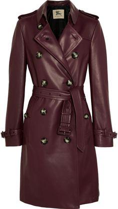 Burberry London Kensington leather trench coat
