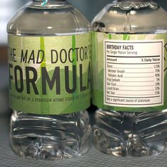 Mad Science Water Bottle Labels from the by SpaceshipsLaserBeams