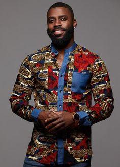 Tops - Kano Button-Up Africa Print Long Sleeve Denim Mandarin Shirt (Red Navy Stripe) African Wear Styles For Men, African Shirts For Men, African Attire For Men, Ankara Styles For Men, Couples African Outfits, African Dresses Men, African Print Shirt, African Clothing For Men, African American Fashion