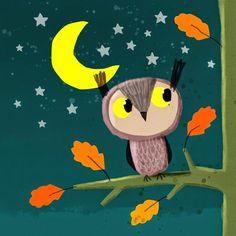 Moon Owl || Cally Jane Studio || https://www.facebook.com/callyjohnsonisaacsillustration