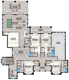 Coastal Plan: 11,653 Square Feet, 5 Bedrooms, 6.5 Bathrooms - 207-00078 Luxury Floor Plans, Luxury House Plans, Best House Plans, Dream House Plans, House Floor Plans, Luxury Houses, House Plans Mansion, Garage House Plans, House Layout Plans