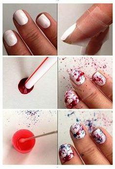 Olha que nailart incrível! #manicure #branco #esmalte #beleza #vermelho #canudo #ideia #tutorial #diferente