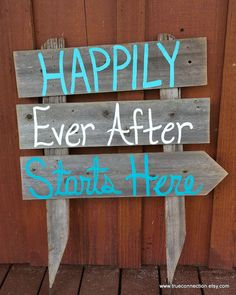 Wedding Sign Happily Ever After Starts Here Arrow Romantic Beach Decorations Hand Painted Reclaimed Wood. Rustic Wedding Teal Blue on Etsy, $79.00
