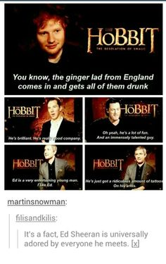 Everyone loves Ed. Except his tattoos x) // Ed Sheeran, Benedict Cumberbatch, Luke Evans, Martin Freeman Love Him, My Love, Nerd, Martin Freeman, Lotr, The Hobbit, My Idol, I Laughed, Laughter