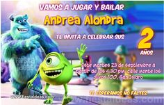 invitaciones Monster inc 3 Gratis