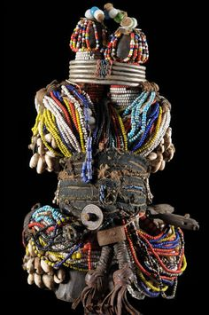 Africa | Fertility Doll ~ Ham Pilu ~ from the Fali people of Cameroon | Wood, leather, metal, glass beads, cotton | ca. 1960
