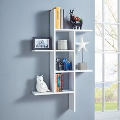 This DANYA B Cantilever White MDF Floating Wall Shelf is perfect for holding daily essentials and displaying decorative accents. Floating Wall Shelves, White Shelves, Cube Shelves, Display Shelves, Ladder Display, Open Shelves, Kitchen Shelves, Bookshelf Design, Wall Shelves Design