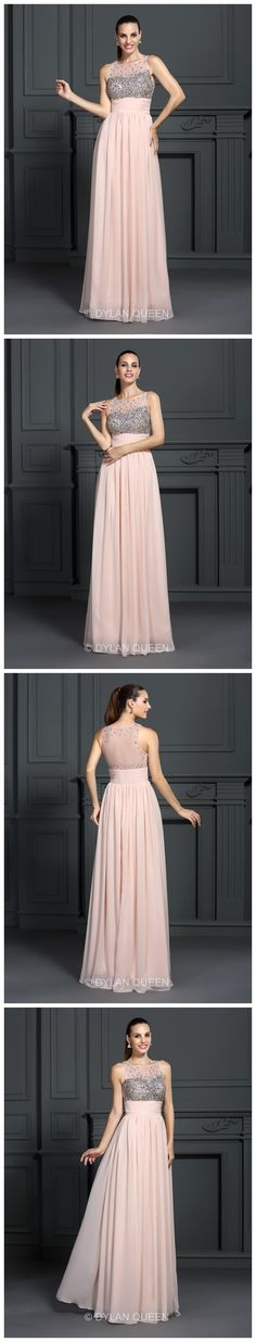 Pink evening dress.Floor-Length Long Dresses #DylanQueen