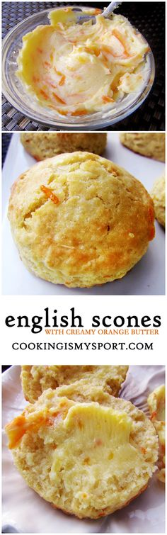 English Scones with Creamy Orange Butter - Cooking Is My Sport Tea Recipes, Breakfast Recipes, Dessert Recipes, Cooking Recipes, Scone Recipes, Baking Scones, Bread Baking, Cupcakes, English Scones