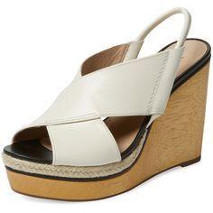 Diane von Furstenberg Footwear Women's Gladys Wooden Wedge Sandal -... ($199) ❤ liked on Polyvore featuring shoes, sandals, white, wooden platform sandals, white wedge sandals, high heel wedge sandals, wedge heel sandals and platform sandals