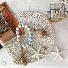 Wooden bead garland with jute tassel Wood home decor