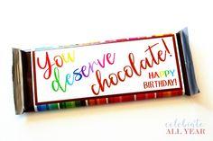 Birthday Chocolate Bar Wrapper Teacher Birthday Gifts, Birthday Tags, Birthday Candy, Friend Birthday Gifts, Birthday Ideas, Happy Birthday, Candy Bar Labels, Candy Bar Wrappers, Relief Society Gifts