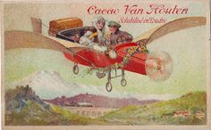 ♥cacao van houten - scenes with early planes - vh1-c-22-4 - couple in plane with wreath of flowers,