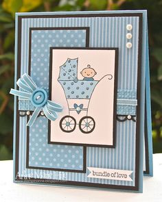 Baby bundle stamp set. Colors are Marina mist and bashful blue w Choc chip