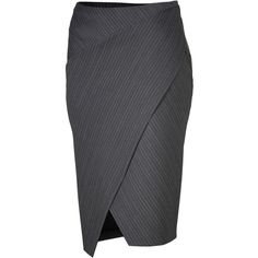 DONNA KARAN Anthracite Striped Stretch Wool Wrapped Pencil Skirt ($826)
