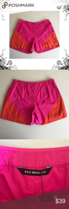 "{KAS New York} Silk Blend Colorblock Shorts Waist across measures approx 15.5"". Front Rise is approx 10.5"". Inseam is approx 5"". 30% Silk/70% Cotton. Lining is 100% Cotton. Pink and orange colorblock design. Pockets at front sides. Zipper and button closure. Bundle for discounts! Thank you for shopping my closet! Bin 44 KAS New York Shorts"