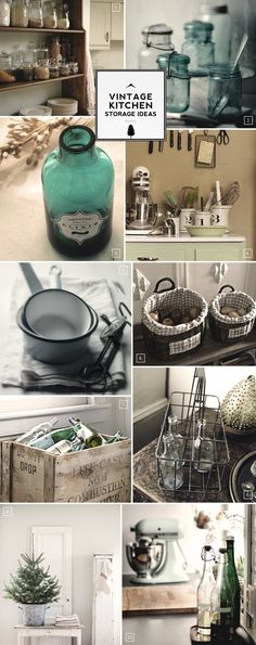 Vintage storage ideas for the kitchen...love this.  I will have to start looking for these items