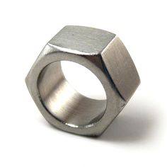 Hexagonal Ring by LogicFreeDesign: Stainless steel, recycled nut, unisex. #Ring  #Nut