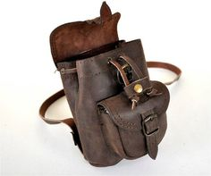 Petite Chocolate Brown Leather Backpack  Used by TheSquareMoon, €32.00