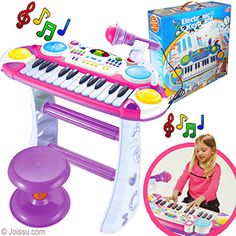 ELECTRONIC KEYBOARDS.These little multi-function battery operated pianos include a microphone and stool.    -- 24 key keyboard    -- Record and playback functions   -- 8 rhythm functions   -- 4 percussion functions   -- 8 musical instrument sounds   -- Tempo shifting function   -- Tone shifting function   -- Sound editing function   -- Demo function   -- Volume control   -- 1 microphone, 1 keyboard, 1 keyboard stand and 1 stool   -- Assorted colors -- Size 18 X 17 X 9 Inches