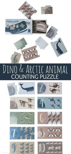 Dino & Arctic Animal Counting Puzzle #toddlers #preschool #preschoolers #prek #count #puzzle #animals #daycare #ad
