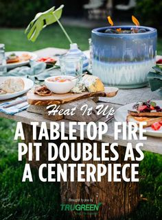 Heat up your summer party with a DIY fire pit centerpiece - perfect for s'mores! Brought to you by @TruGreen >> http://www.hgtv.com/design-blog/how-to/make-a-tabletop-fireplace-with-a-ceramic-pot?soc=pinterest