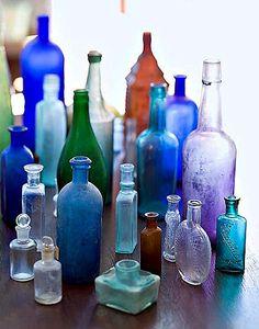 lovely bottle collection...  via c l u t t e r \ \ n o s t a l g i a