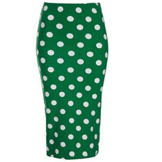 TOPSHOP Green Spot Print Tube Skirt ($45) ❤ liked on Polyvore